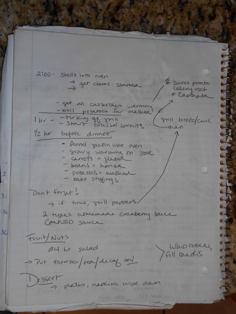 Page 2 of the timeline notes from last year's Thanksgiving
