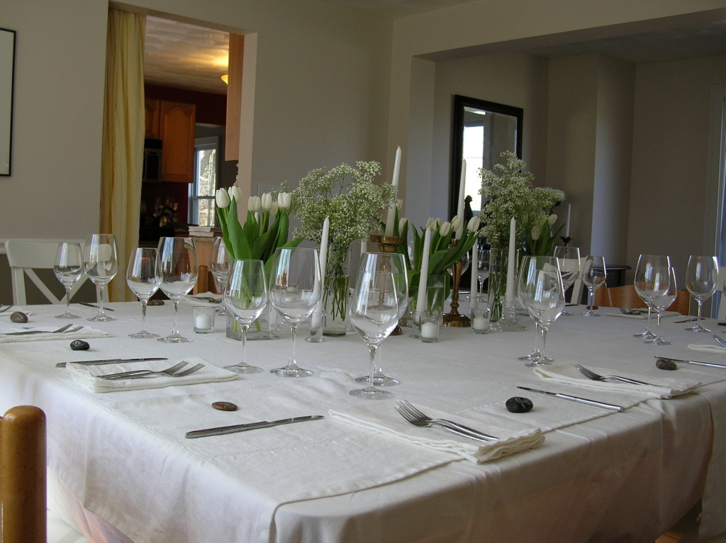 The table gets set a couple hours before guests arrive
