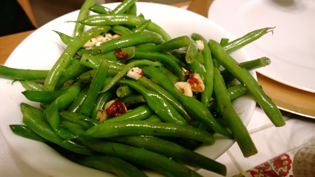 Haricot Vert glistening in their hazenutty/truffle-y goodness
