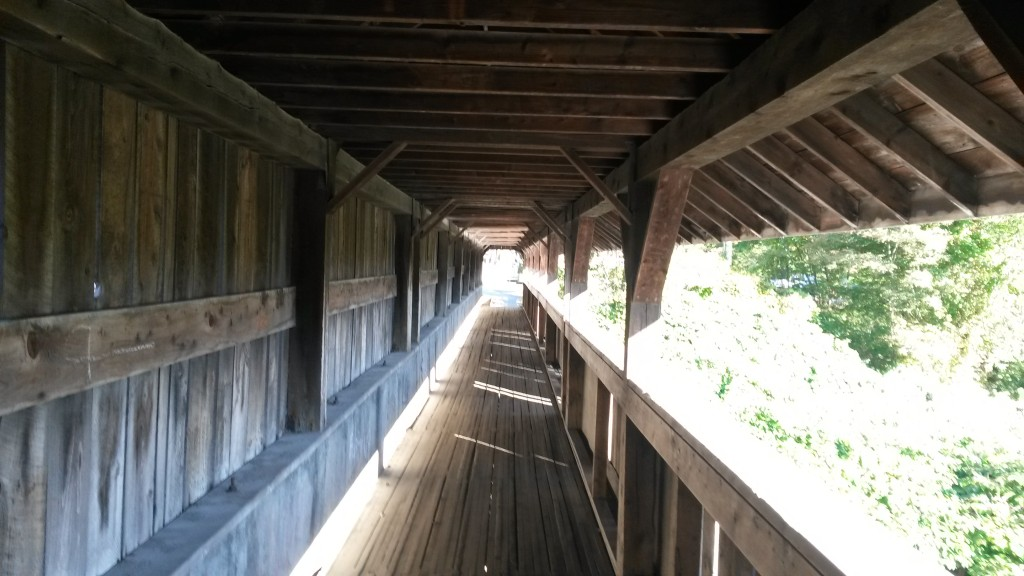 Covered bridge during a run in Stowe, VT