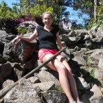"""Relaxed"" on the rocks on the top of Gross Piton- SO WINDY and cold!"